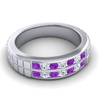 Amethyst Polished Agkita Band with Diamond in Platinum
