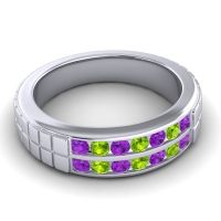 Amethyst Polished Agkita Band with Peridot in Platinum