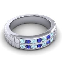 Aquamarine Polished Agkita Band with Blue Sapphire in 14k White Gold