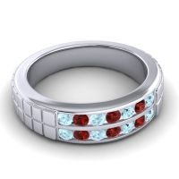 Aquamarine Polished Agkita Band with Garnet in 14k White Gold