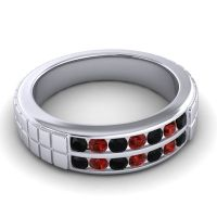 Black Onyx Polished Agkita Band with Garnet in 14k White Gold