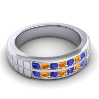 Blue Sapphire Polished Agkita Band with Citrine in Palladium