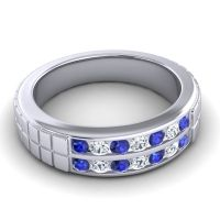 Blue Sapphire Polished Agkita Band with Diamond in Platinum