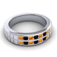 Citrine Polished Agkita Band with Black Onyx in Palladium