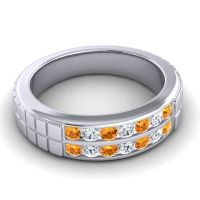 Citrine Polished Agkita Band with Diamond in 18k White Gold