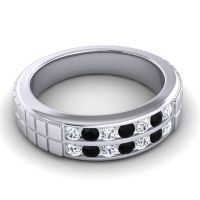 Polished Agkita Men's Diamond Band with Black Onyx in 18k White Gold