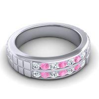 Diamond Polished Agkita Band with Pink Tourmaline in Platinum