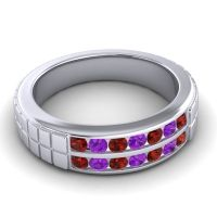 Garnet Polished Agkita Band with Amethyst in 18k White Gold