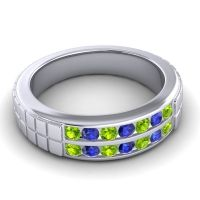 Peridot Polished Agkita Band with Blue Sapphire in Palladium