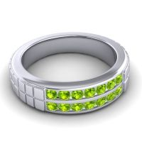 Peridot Polished Agkita Band in Palladium