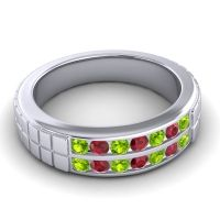 Peridot Polished Agkita Band with Ruby in Palladium