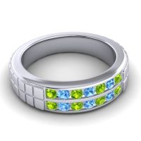 Peridot Polished Agkita Band with Swiss Blue Topaz in Palladium