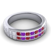Ruby Polished Agkita Band with Amethyst in 18k White Gold