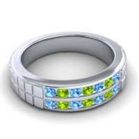 Polished Agkita Men's Swiss Blue Topaz Band with Peridot in 18k White Gold