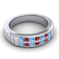 Polished Agkita Men's Swiss Blue Topaz Band with Ruby in 18k White Gold