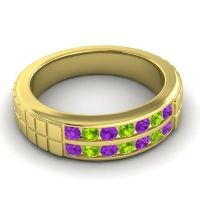 Amethyst Polished Agkita Band with Peridot in 18k Yellow Gold