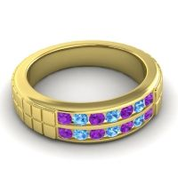 Amethyst Polished Agkita Band with Swiss Blue Topaz in 14k Yellow Gold