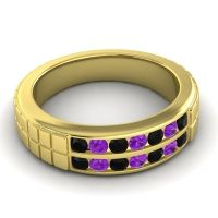 Polished Agkita Men's Black Onyx Band with Amethyst in 14k Yellow Gold
