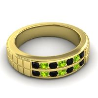 Black Onyx Polished Agkita Band with Peridot in 14k Yellow Gold