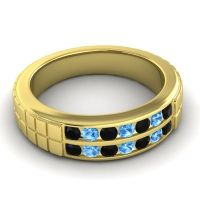 Black Onyx Polished Agkita Band with Swiss Blue Topaz in 14k Yellow Gold