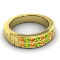 Citrine Polished Agkita Band with Peridot in 18k Yellow Gold