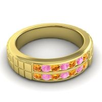 Citrine Polished Agkita Band with Pink Tourmaline in 18k Yellow Gold