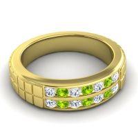 Diamond Polished Agkita Band with Peridot in 14k Yellow Gold