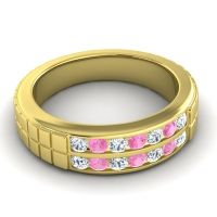 Diamond Polished Agkita Band with Pink Tourmaline in 14k Yellow Gold