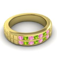 Pink Tourmaline Polished Agkita Band with Peridot in 14k Yellow Gold