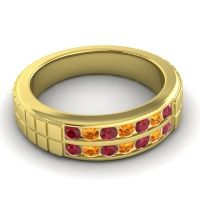 Polished Agkita Men's Ruby Band with Citrine in 18k Yellow Gold