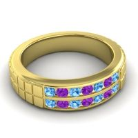 Polished Agkita Men's Swiss Blue Topaz Band with Amethyst in 14k Yellow Gold