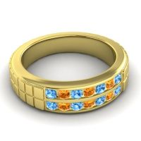Swiss Blue Topaz Polished Agkita Band with Citrine in 18k Yellow Gold
