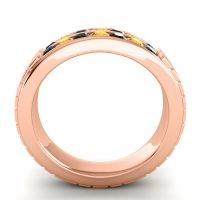 Black Onyx Polished Agkita Band with Citrine in 18K Rose Gold