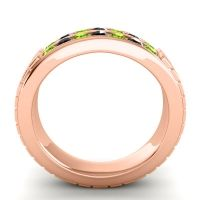 Peridot Polished Agkita Band with Black Onyx in 18K Rose Gold