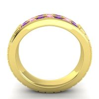 Amethyst Polished Agkita Band with Pink Tourmaline in 14k Yellow Gold