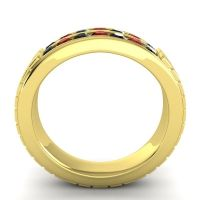 Black Onyx Polished Agkita Band with Garnet in 18k Yellow Gold