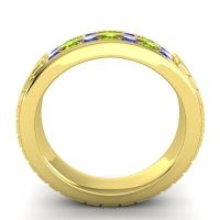 Blue Sapphire Polished Agkita Band with Peridot in 14k Yellow Gold
