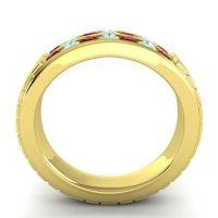 Garnet Polished Agkita Band with Aquamarine in 14k Yellow Gold