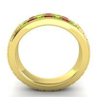 Peridot Polished Agkita Band with Garnet in 14k Yellow Gold