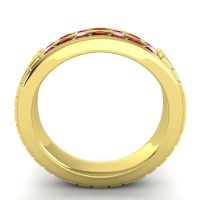 Ruby Polished Agkita Band with Garnet in 14k Yellow Gold