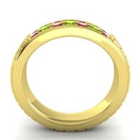 Ruby Polished Agkita Band with Peridot in 14k Yellow Gold