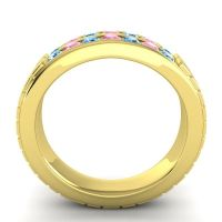 Swiss Blue Topaz Polished Agkita Band with Pink Tourmaline in 14k Yellow Gold