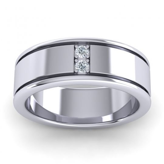 Diamond Polished Jiva Band in 14k White Gold
