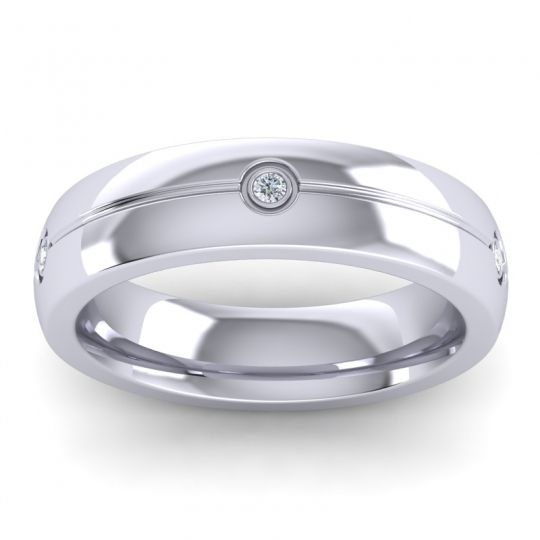 Diamond Polished Atman Band in 14k White Gold