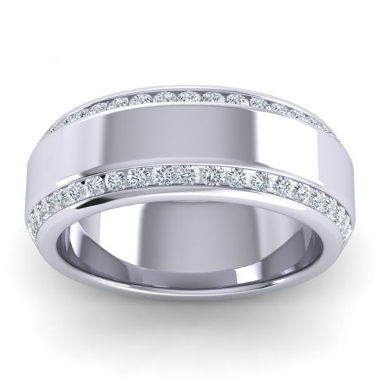 Polished Anindita Men's Diamond Band in 14k White Gold