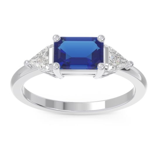 Blue Sapphire East-West Three Stone Samantara Ring with Diamond in 14k White Gold