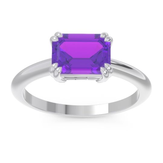 Amethyst East-West Solitaire Pazu Ring in 14k White Gold