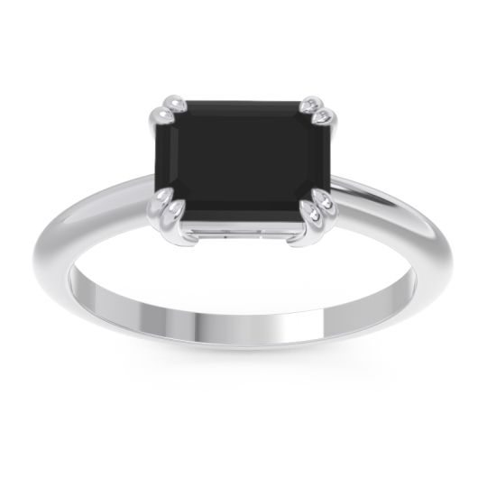 Black Onyx East-West Solitaire Pazu Ring in 14k White Gold