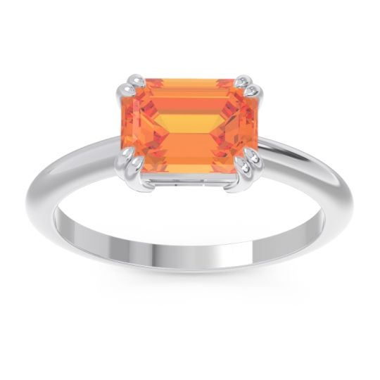 East-West Solitaire Pazu Citrine Ring in 14k White Gold