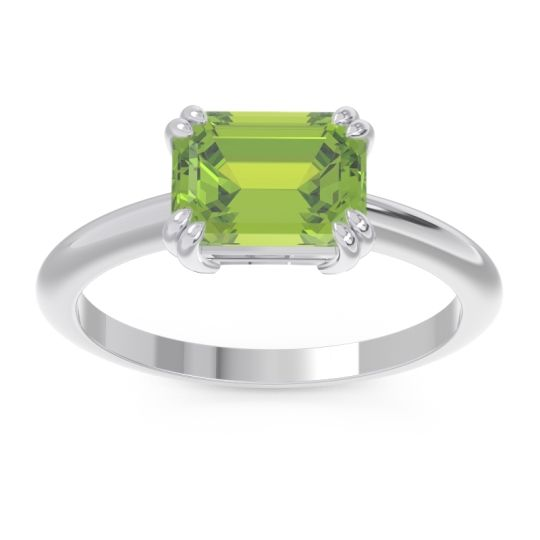 Peridot East-West Solitaire Pazu Ring in 14k White Gold